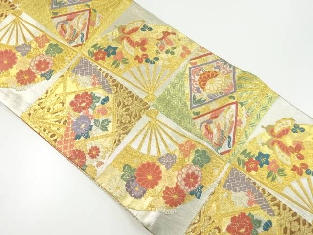 【IDnet】 本金格子に花・蝶・扇模様織り出し袋帯【リサイクル】【中古】【着】