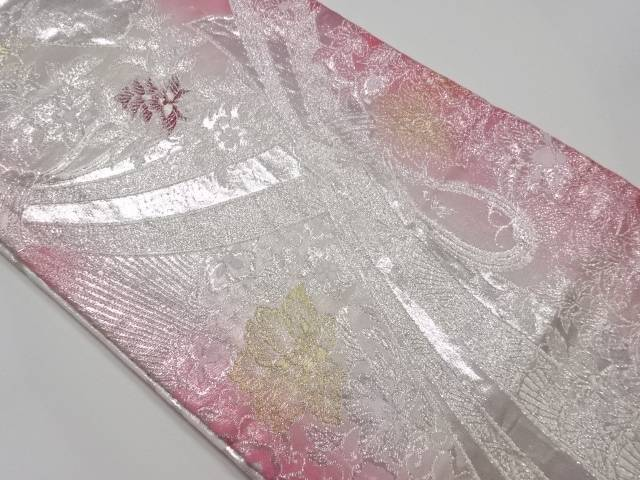 【IDnet】 束ね熨斗に唐花模様織り出し暈し全通袋帯【リサイクル】【中古】【着】