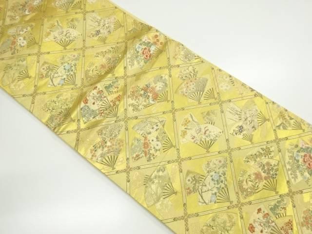 【IDnet】 本金箔扇面に花模様織り出し袋帯【リサイクル】【中古】【着】