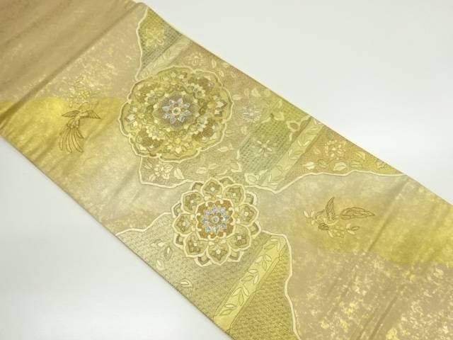 【IDnet】 螺鈿汕頭蘇州刺繍華紋に花喰い鳥模様袋帯【リサイクル】【中古】【着】