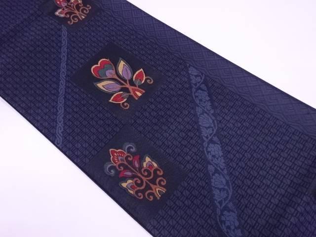 【IDnet】 幾何学に抽象花模様織出し袋帯【リサイクル】【中古】【着】