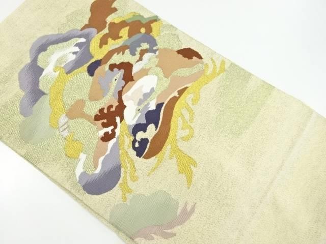 【IDnet】 本綴れ笠松に鶴模様織出名古屋帯【リサイクル】【中古】【着】