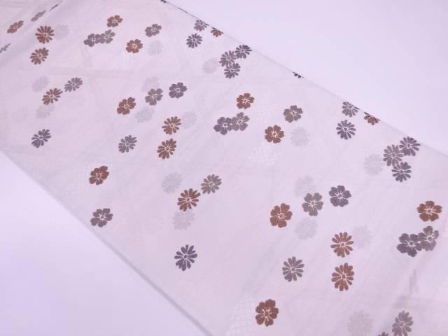 【IDnet】 籠目に菊・桜模様織出し袋帯【リサイクル】【中古】【着】