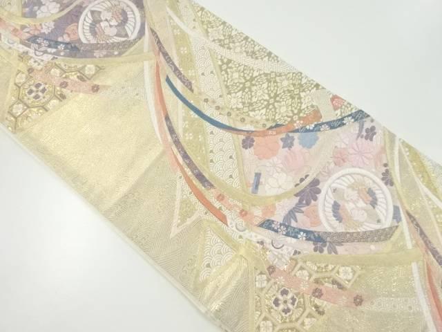 【IDnet】 純金箔熨斗に花・向かい鳥模様織り出し袋帯【リサイクル】【中古】【着】