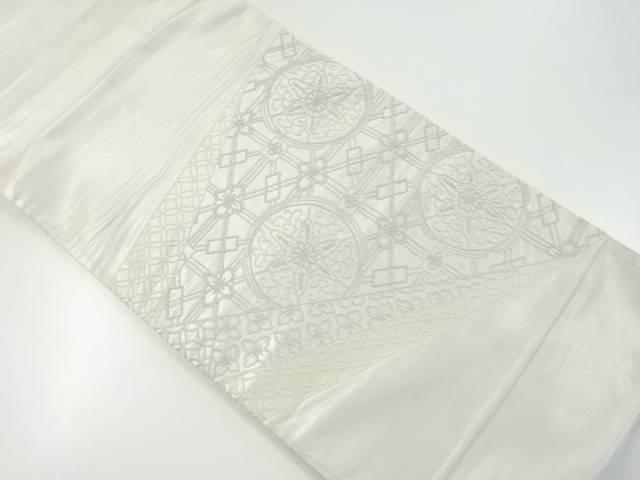 【IDnet】 色紙に華紋模様刺繍袋帯【リサイクル】【中古】【着】