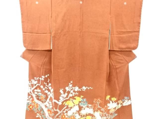 【IDnet】 未使用品 手描き枝梅・椿・菊模様刺繍三つ紋色留袖(比翼付き)【リサイクル】【着】