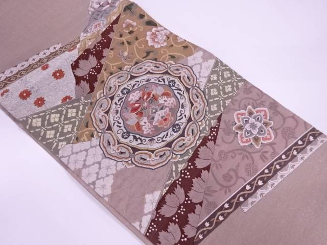 【IDnet】 明綴れ絵皿に花鳥模様織出し袋帯【リサイクル】【中古】【着】