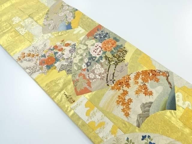 【IDnet】 本金箔地紙に花車模様織り出し袋帯【リサイクル】【中古】【着】