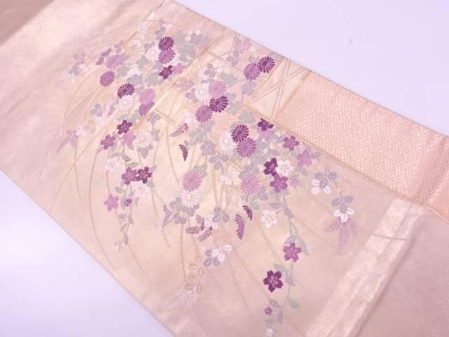 【IDnet】 檜垣に草花模様織出し袋帯【リサイクル】【中古】【着】