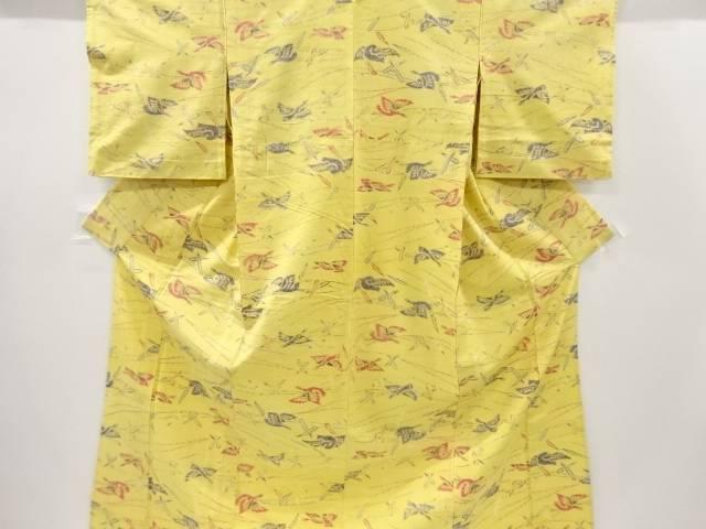 【IDnet】 群鶴に松葉模様織り出し手織り真綿紬単衣着物【リサイクル】【中古】【着】