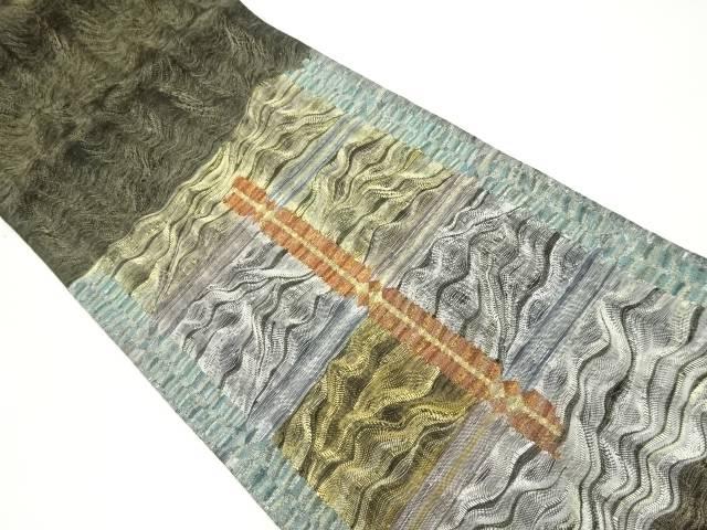 【IDnet】 紗すくい織幾何学模様織り出し袋帯【リサイクル】【中古】【着】