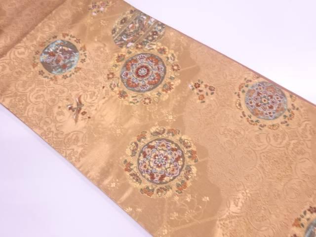 【IDnet】 洛陽織物製 華紋に花鳥模様織出し袋帯【リサイクル】【中古】【着】