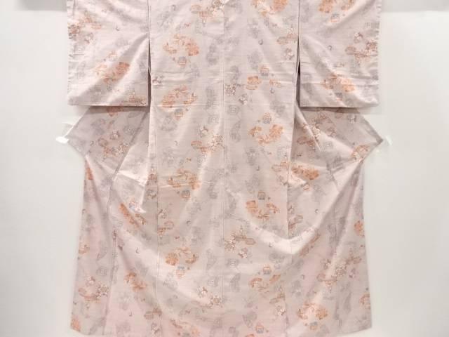 【IDnet】 簪に玩具模様織り出し手織り真綿紬着物【リサイクル】【中古】【着】