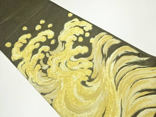 【IDnet】 金糸荒波模様織り出し袋帯【リサイクル】【中古】【着】