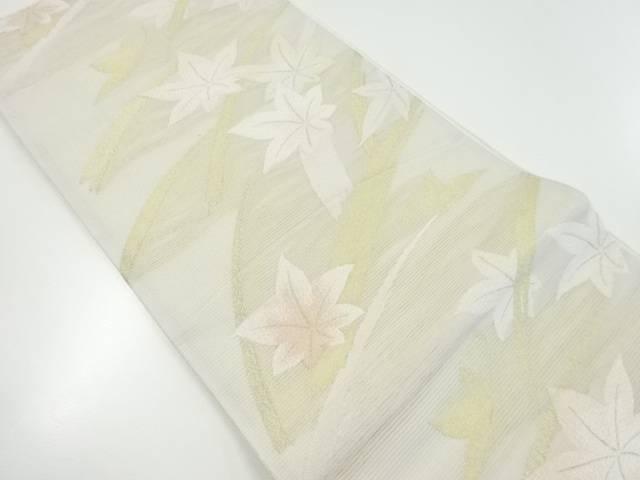 【IDnet】 絽芝草に紅葉模様織り出し袋帯【リサイクル】【中古】【着】