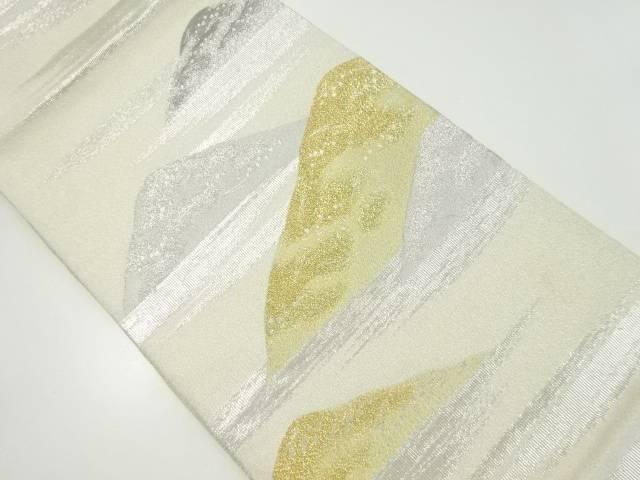 【IDnet】 明綴れプラチナ箔遠山に霞模様織り出し袋帯【リサイクル】【中古】【着】