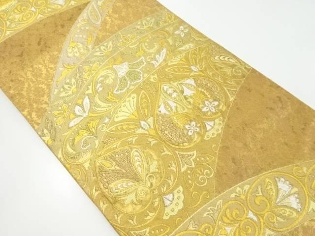 【IDnet】 金糸花更紗模様織り出し袋帯【リサイクル】【中古】【着】