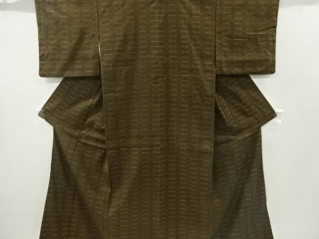 【IDnet】 重要無形文化財本場結城紬抽象模様織り出し着物【リサイクル】【中古】【着】