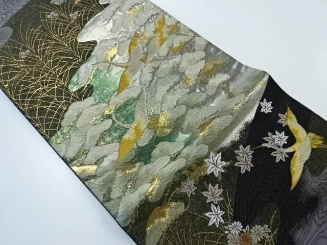 【IDnet】 引箔流水に松・群鶴模様織り出し袋帯【リサイクル】【中古】【着】