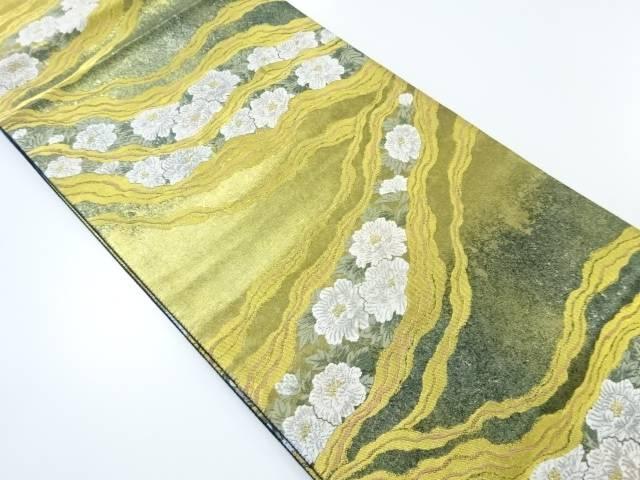【IDnet】 本金引箔墨流しに花模様織り出し袋帯【リサイクル】【中古】【着】