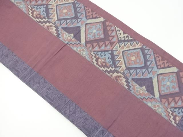 【IDnet】 手織り紬菱華紋織り出し袋帯【リサイクル】【中古】【着】