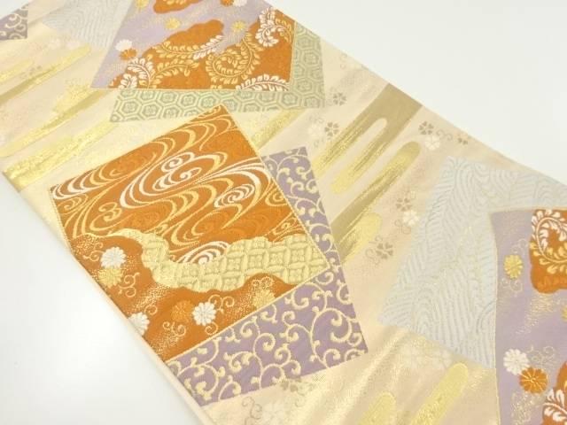 【IDnet】 本金色紙に流水・花唐草模様織り出し袋帯【リサイクル】【中古】【着】