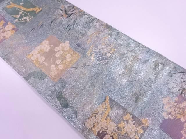 【IDnet】 松梅に花色紙模様織出し袋帯【リサイクル】【中古】【着】