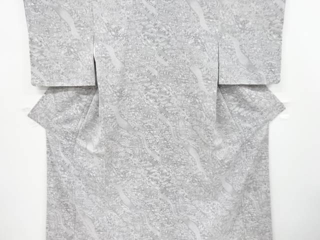 【IDnet】 未使用品 墨染め 輝宝織 霞取りに群鶴・宝尽くし模様織り出しお召着物【リサイクル】【着】