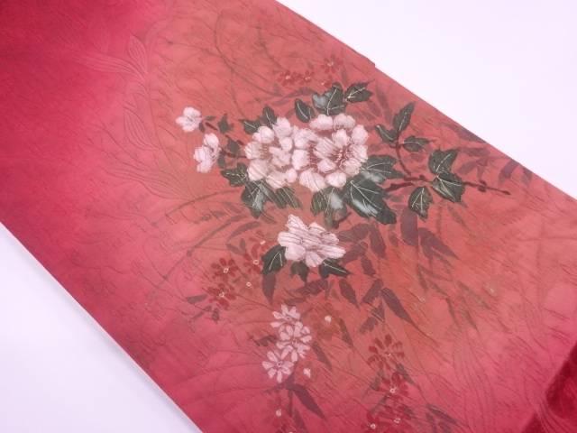 【IDnet】 未使用品 纐纈手描き草花模様暈し袋帯【リサイクル】【着】
