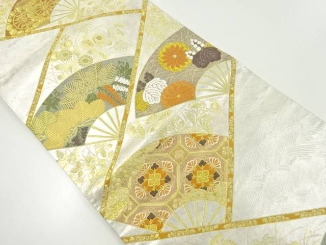 【IDnet】 金糸扇面に松・菊模様織り出し袋帯【リサイクル】【中古】【着】