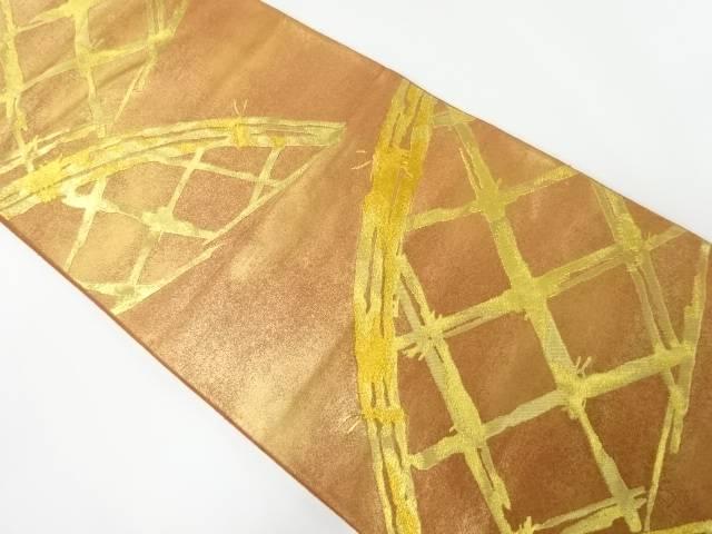 【IDnet】 加納織物製 本金蛇籠模様織り出し袋帯【リサイクル】【中古】【着】