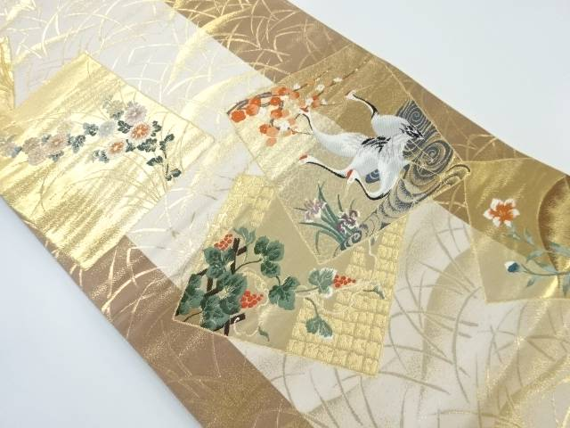 【IDnet】 本金箔色紙に鶴・草花模様織出袋帯【リサイクル】【中古】【着】