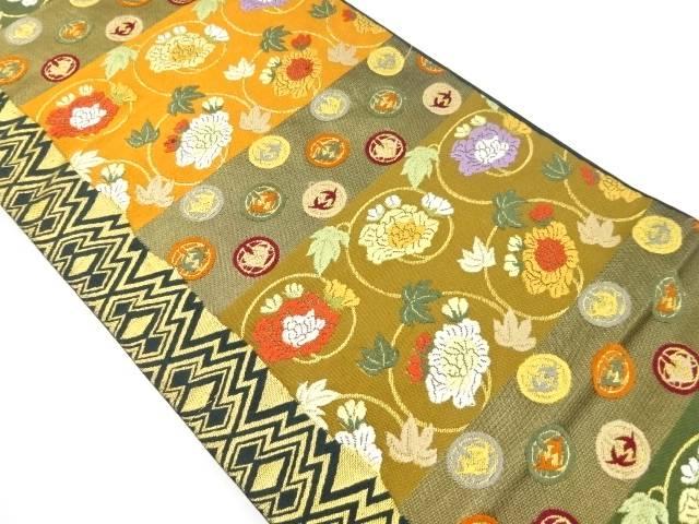 【IDnet】 本金牡丹唐草に丸紋織り出し本袋帯【リサイクル】【中古】【着】