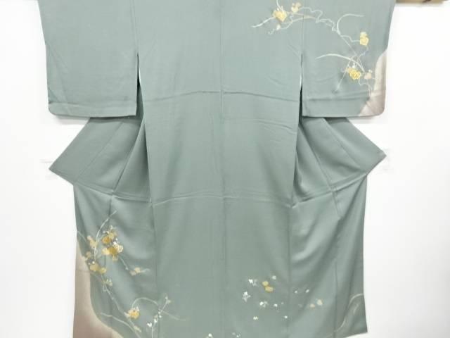【IDnet】 金彩手描き友禅蔦の葉模様刺繍一ツ紋訪問着【リサイクル】【中古】【着】