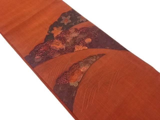 【IDnet】 手織り真綿紬汕頭蘇州刺繍雪芝に花小槌模様袋帯【リサイクル】【中古】【着】