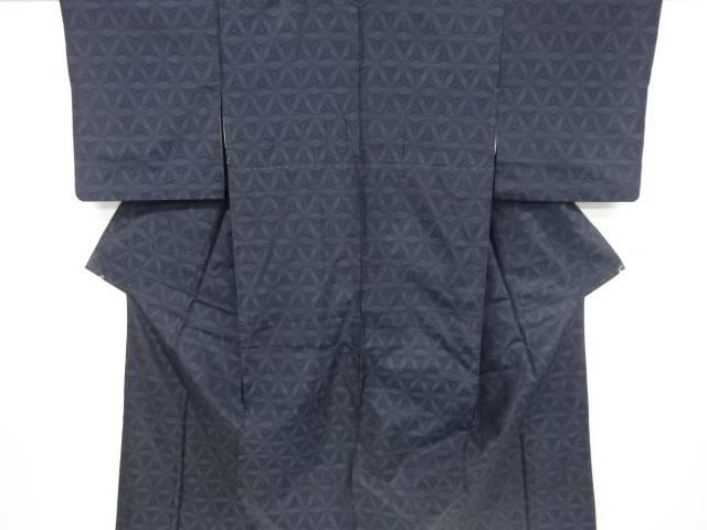 【IDnet】 幾何学模様織り出し本場泥大島紬着物・道行コートアンサンブル【リサイクル】【中古】【着】