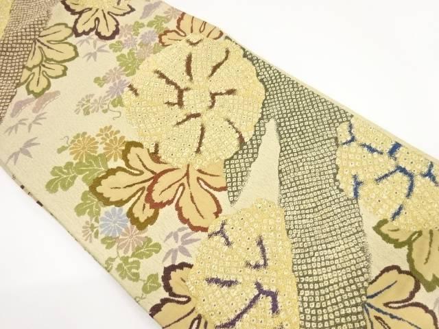 【IDnet】 纐纈疋田に菊模様織り出し袋帯【リサイクル】【中古】【着】
