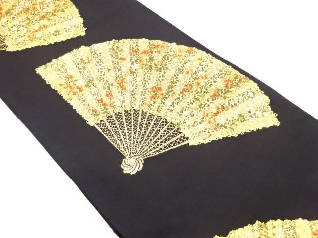 【IDnet】 金糸花扇模様織り出し全通本袋帯【リサイクル】【中古】【着】