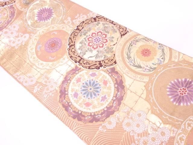 【IDnet】 絵皿に草花・弓模様織出し袋帯【リサイクル】【中古】【着】