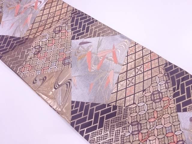 【IDnet】 切り嵌め風笹の葉に古典柄模様織出し袋帯【リサイクル】【中古】【着】