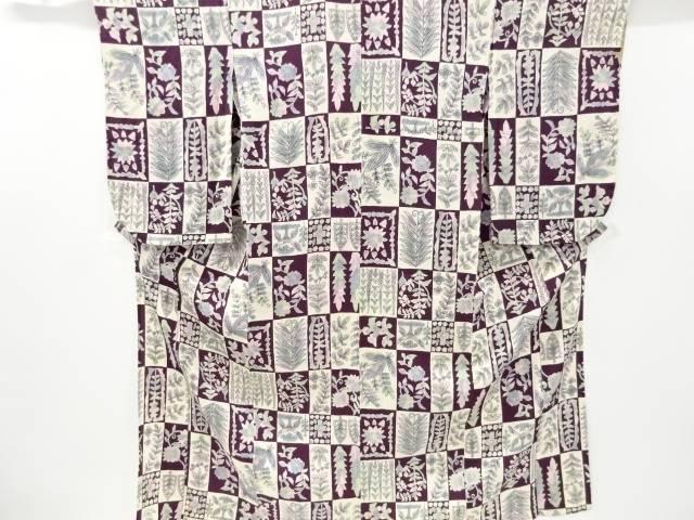 【IDnet】 変わり市松に抽象草葉模様単衣着物【大正ロマン】【中古】【着】