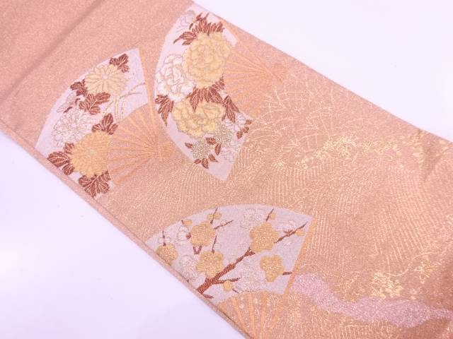 【IDnet】 純金箔扇に牡丹・草花模様織出し袋帯【リサイクル】【中古】【着】