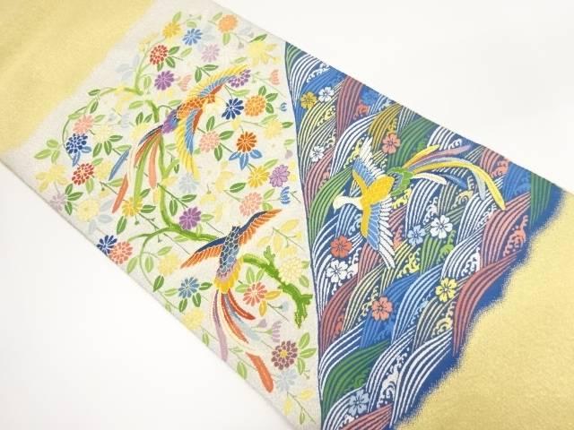 【IDnet】 綴れ菊に鳳凰模様織出し袋帯【リサイクル】【中古】【着】