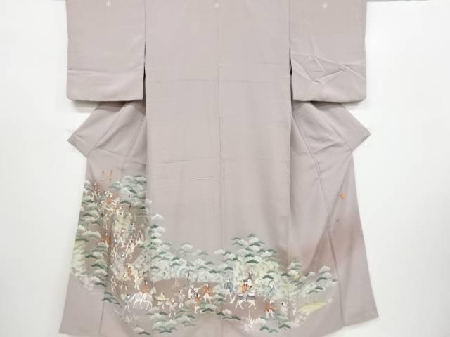 【IDnet】 作家物 寿光織手描き大名行列模様三つ紋色留袖(比翼付き)【リサイクル】【中古】【着】