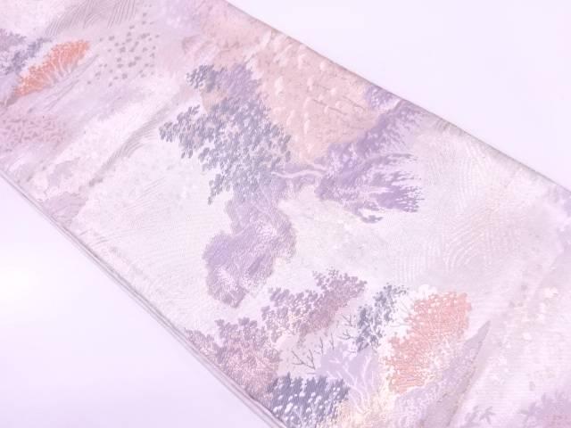 【IDnet】 樹木風景模様織出し袋帯【リサイクル】【中古】【着】
