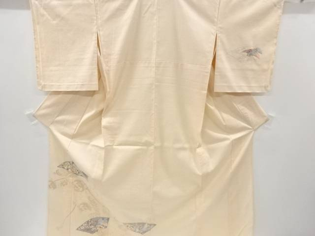 【IDnet】 蘇州刺繍扇面に鶴・牡丹模様手織り真綿紬単衣訪問着【リサイクル】【中古】【着】