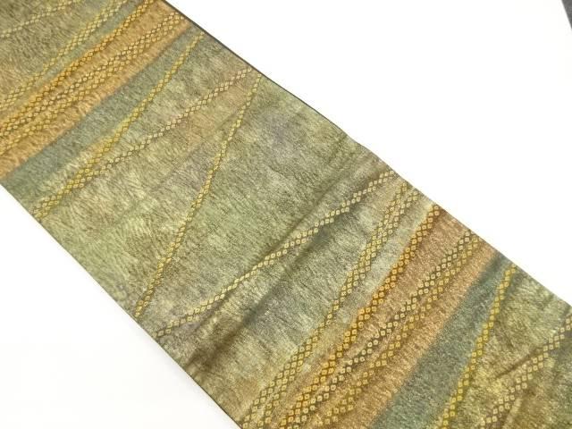 【IDnet】 渡文製 纐纈疋田横段模様織り出し袋帯【リサイクル】【中古】【着】