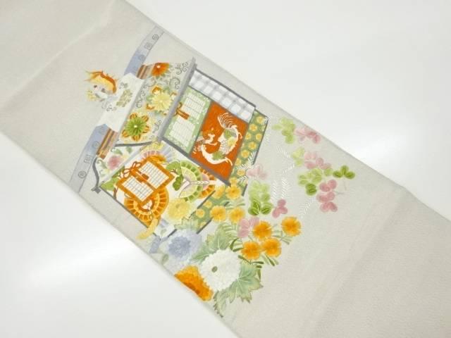 【IDnet】 砂子綴れ駕籠模様刺繍袋帯【リサイクル】【中古】【着】