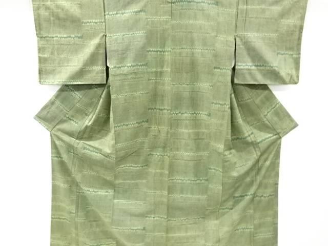 【IDnet】 草木染絞り横段模様手織り紬着物【リサイクル】【中古】【着】