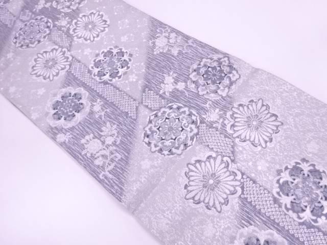 【IDnet】 未使用品 斜め市松に華文・花模様織出し袋帯【リサイクル】【着】